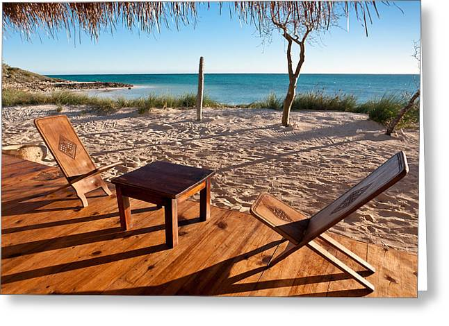 Luxurious Terrace On The Beach Greeting Card by Pierre-Yves Babelon