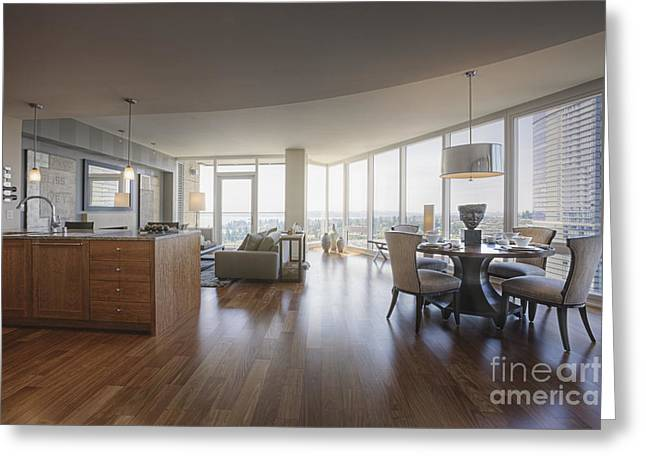 Coffee Table Couch Greeting Cards - Luxury Apartment Living and Dining Area Greeting Card by Andersen Ross