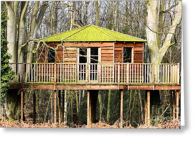 Treehouse Greeting Cards - Luxury tree house in the woods Greeting Card by Simon Bratt Photography LRPS