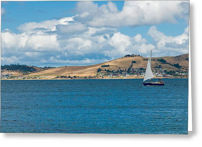 Luxury Yacht Sails In Blue Waters Along A Summer Coast Line Greeting Card by Ulrich Schade