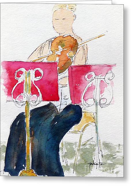 Quartet Paintings Greeting Cards - Lydia On Second Violin Greeting Card by Pat Katz