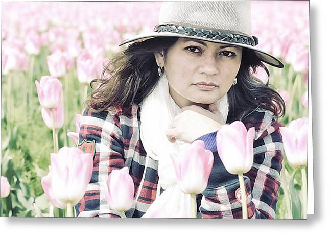 Portrait Photography Greeting Cards - Lydia Surrounded By Pink Tulips Greeting Card by Paul W Sharpe Aka Wizard of Wonders