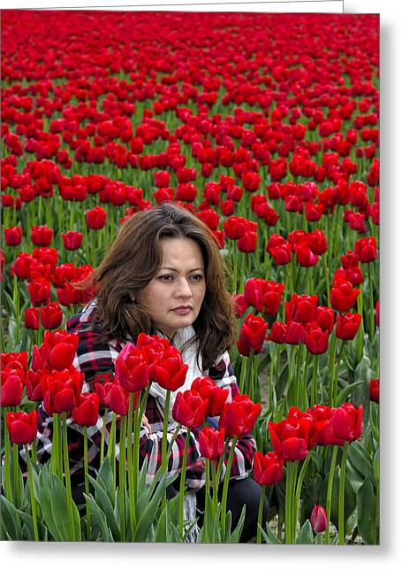 Portrait Photography Greeting Cards - Lydia Surrounded By Red Tulips Greeting Card by Paul W Sharpe Aka Wizard of Wonders