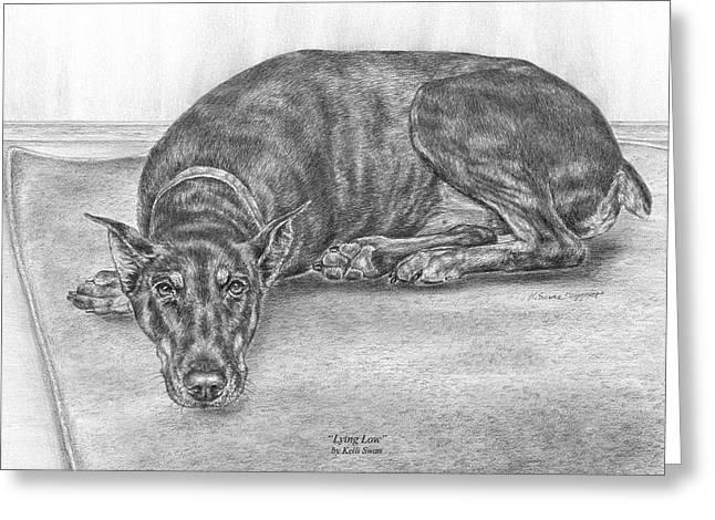 Guard Dog Greeting Cards - Lying Low - Doberman Pinscher Dog Art Print Greeting Card by Kelli Swan