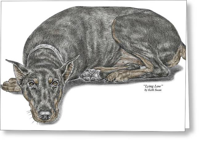 Lying Low - Doberman Pinscher Dog Print color tinted Greeting Card by Kelli Swan