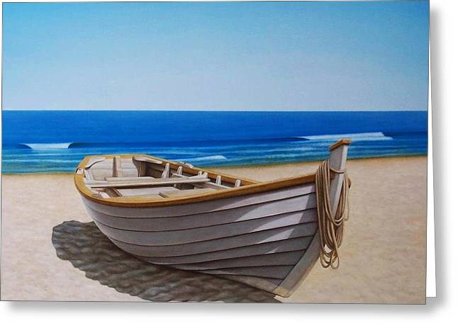 Fishing Boat Greeting Cards - Lying on the sand Greeting Card by Horacio Cardozo