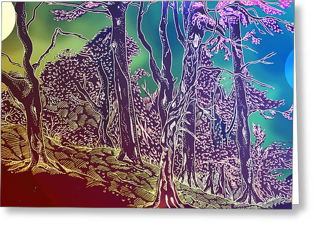Woodland Scenes Drawings Greeting Cards - Lymphoy Fantasy Sketch Greeting Card by Grant  Wilson