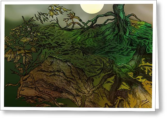 Forest Floor Drawings Greeting Cards - Lymphoy Night Drawing Greeting Card by Grant  Wilson