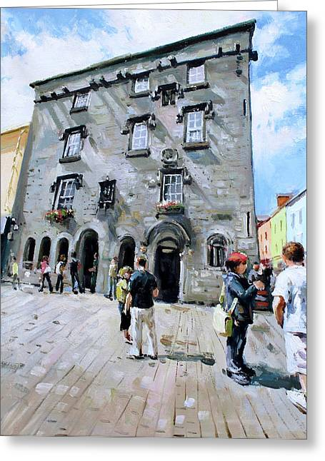 Stone Carving Greeting Cards - Lynches Castle Galway City Greeting Card by Conor McGuire