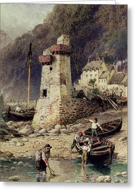 Masts Greeting Cards - Lynmouth in Devonshire Greeting Card by Myles Birket Foster