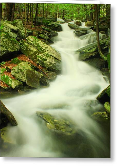 Wendell Greeting Cards - Lynnes Falls Hidden Valley Wendell State Forest Greeting Card by John Burk