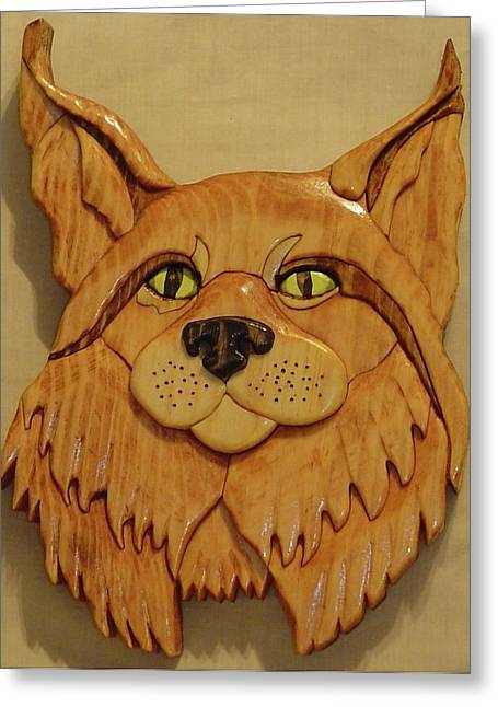 Intarsia Sculptures Greeting Cards - Lynx Greeting Card by Russell Ellingsworth