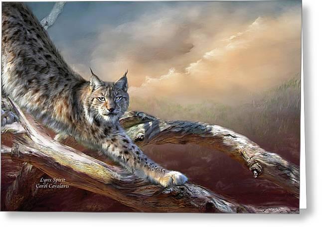 Wildcats Mixed Media Greeting Cards - Lynx Spirit Greeting Card by Carol Cavalaris