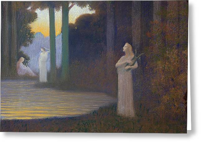 Surrealist Greeting Cards - Lyricism in the Forest Greeting Card by Alphonse Osbert