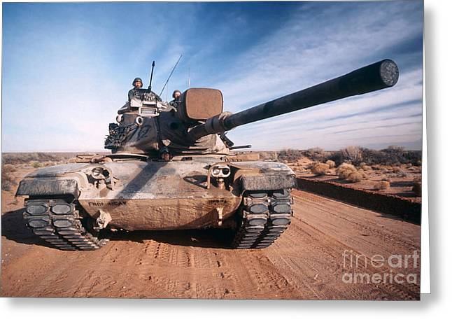 M-60 Battle Tank In Motion Greeting Card by Stocktrek Images