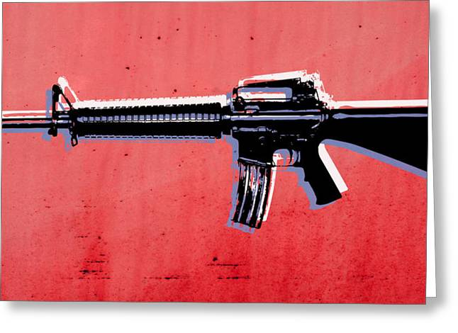 Arm Greeting Cards - M16 Assault Rifle on Red Greeting Card by Michael Tompsett