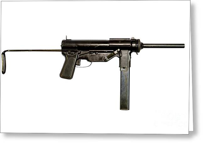 Copy Machine Greeting Cards - M3 Submachine Gun, 45 Caliber Greeting Card by Andrew Chittock