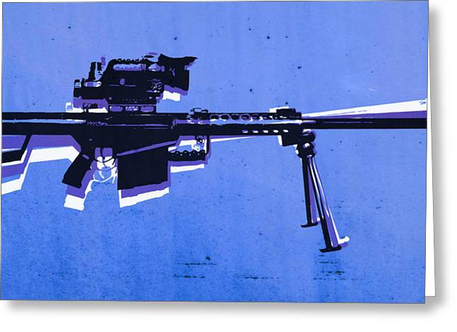 Cal Greeting Cards - M82 Sniper Rifle on Blue Greeting Card by Michael Tompsett