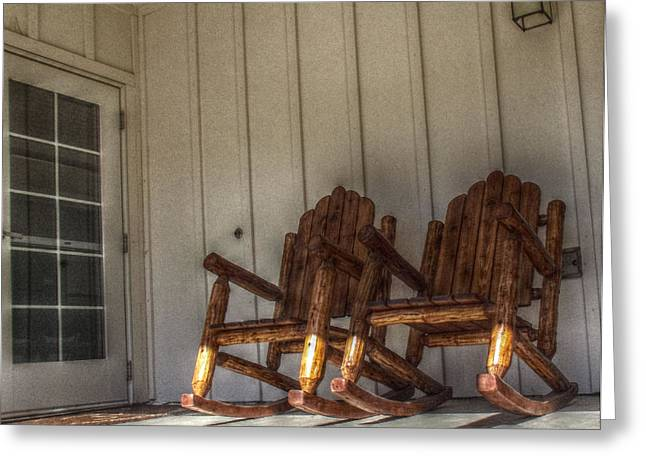 Mccrea Greeting Cards - Ma and Pa Chairs Greeting Card by Cindy Nunn