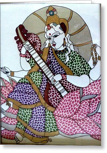 Hindu Goddess Greeting Cards - Maa Saraswati Greeting Card by Kruti Shah