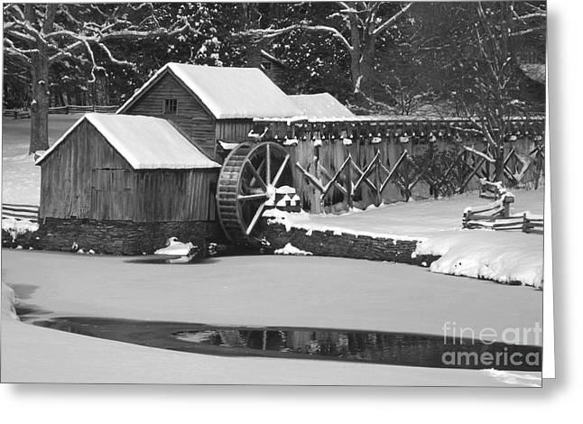 Mabry Mill In Black And White Greeting Card by Joe Elliott