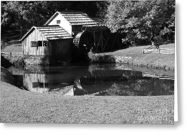 Grist Mill Digital Art Greeting Cards - Mabry Mill in Black and White Greeting Card by Thomas R Fletcher