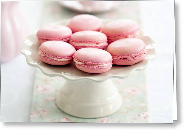 Cake Stand Greeting Cards - Macarons Greeting Card by Ruth Black