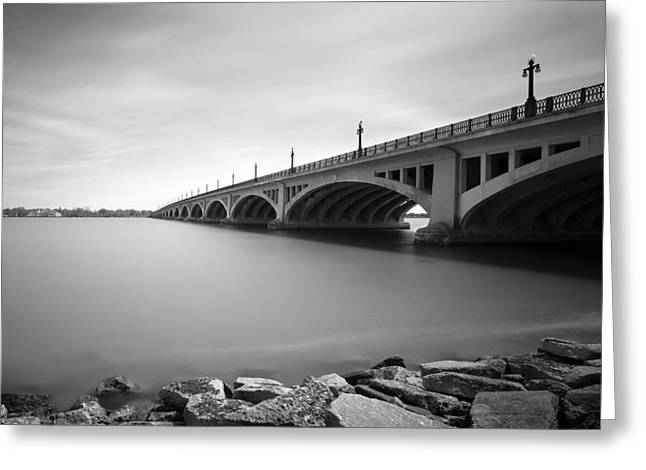 Belle Isle Greeting Cards - MacArthur Bridge To Belle Isle Detroit Michigan Greeting Card by Gordon Dean II