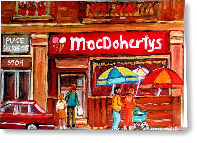 Out-of-date Greeting Cards - Macdohertys Icecream Parlor Greeting Card by Carole Spandau