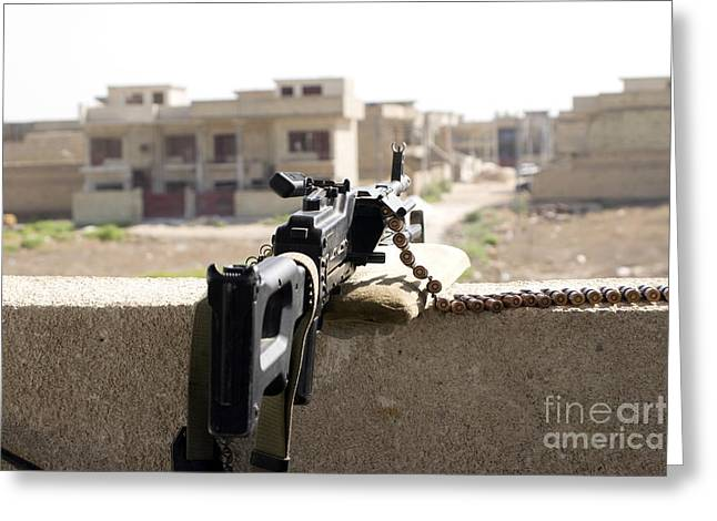 7.62mm Greeting Cards - Machine Gun Post At A Prison Greeting Card by Terry Moore
