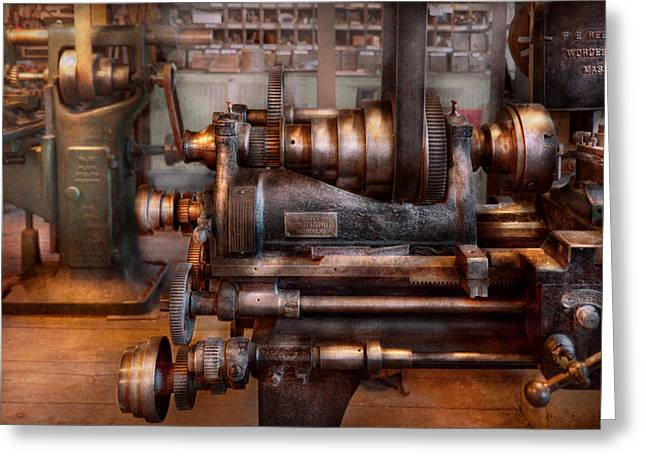 Journyman Greeting Cards - Machinist - Steampunk - 5 Speed Semi Automatic Greeting Card by Mike Savad