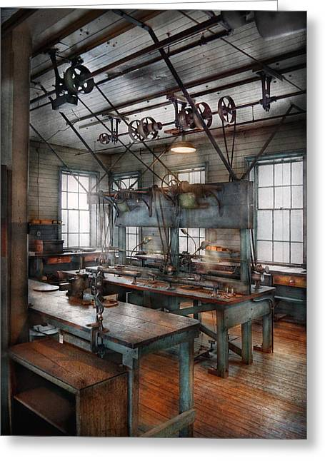 Work Bench Greeting Cards - Machinist - Steampunk - The contraption room Greeting Card by Mike Savad