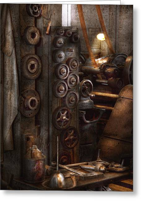 Machinists Greeting Cards - Machinist - Steampunk - You got some good gear there Greeting Card by Mike Savad