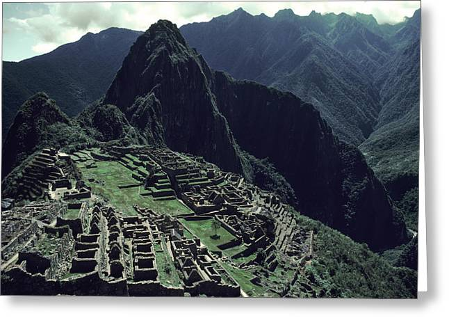 Pre Columbian Architecture And Art Greeting Cards - Machu Picchu, A Pre-columian Inca Ruin Greeting Card by Ira Block