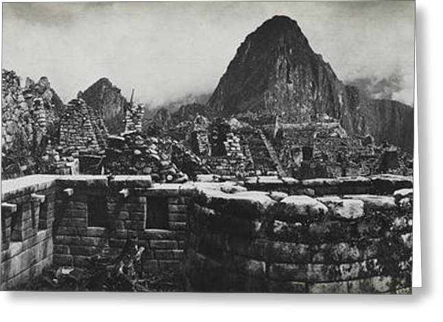 Image Collection Book Greeting Cards - Machu Picchu Ruins On A Semicircular Greeting Card by Hiram Bingham