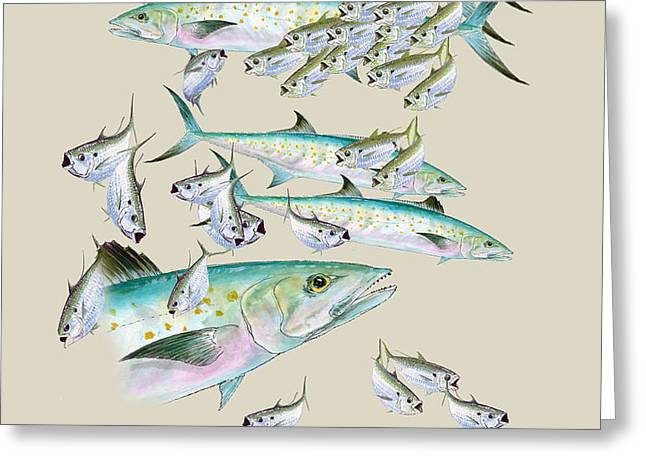 Mackerel Montage Greeting Card by KEVIN BRANT
