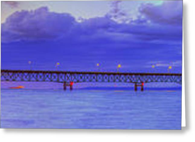 City Lights Greeting Cards - Mackinac Bridge after Sunset Greeting Card by Twenty Two North Photography