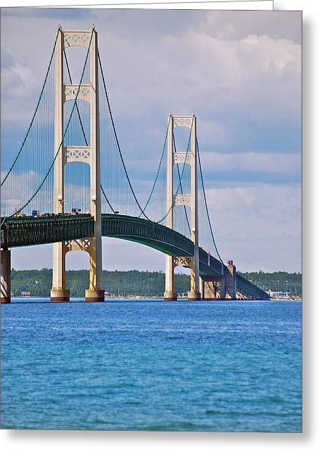 Peychich Greeting Cards - Mackinac Bridge Greeting Card by Michael Peychich