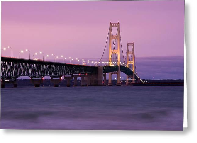 Upper Peninsula Greeting Cards - Mackinac Bridge Sunset Greeting Card by James Marvin Phelps