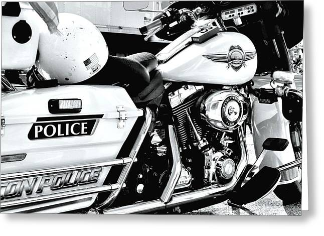 Police Motorcycles Greeting Cards - Macon Polics Harley Greeting Card by Kenneth Mucke