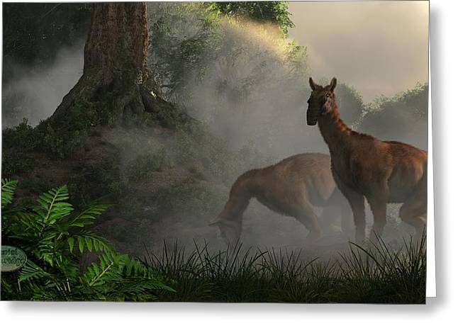 Mammalian Greeting Cards - Macrauchenia Forest Grazing Greeting Card by Daniel Eskridge
