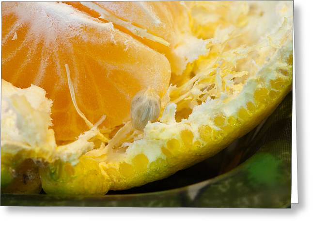 Macro Photo Of Orange Peel And Pips And Main Fleshy Part Greeting Card by Ashish Agarwal