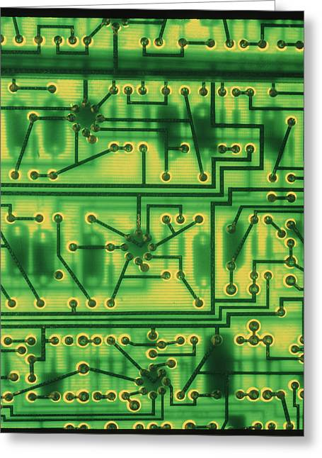 Non-integrated Electronics Greeting Cards - Macrophoto Of Surface Of A Circuit Board Greeting Card by Tony Craddock