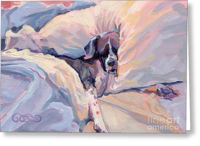 Brindle Greeting Cards - Macy Lou Hoo Snooze Greeting Card by Kimberly Santini