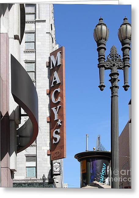 Stockton Street Greeting Cards - Macys Department Store in San Francisco Greeting Card by Wingsdomain Art and Photography