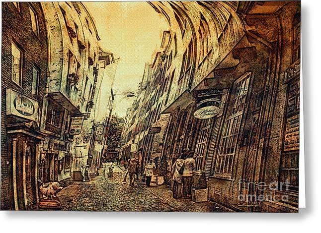 Postwork Greeting Cards - Mad Alley Greeting Card by Jutta Maria Pusl