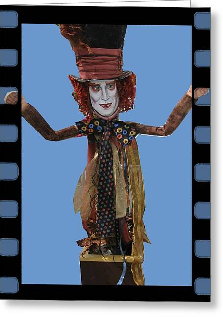 Mad Hatter Mixed Media Greeting Cards - Mad As A Hatter Greeting Card by Cathi Doherty