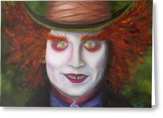 Mad Hatter Paintings Greeting Cards - Mad as a Hatter Greeting Card by Thea Wolff