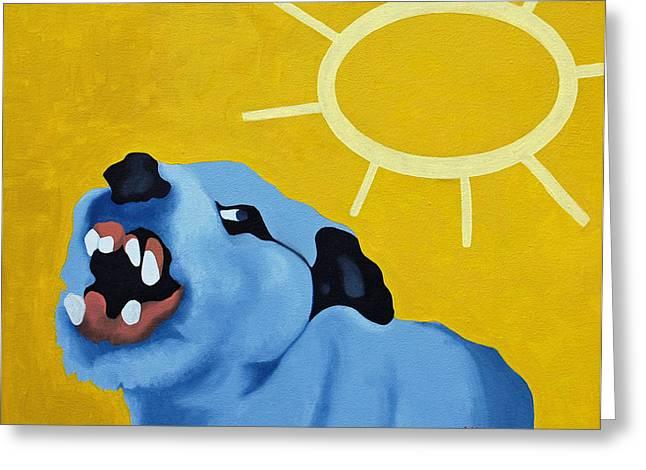 Hounddog Greeting Cards - Mad Dog Greeting Card by Donald Amorosa