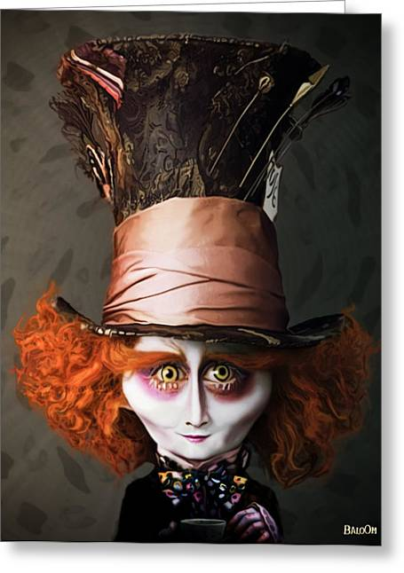 Mad Hatter Greeting Cards - Mad Hatter Greeting Card by BaloOm Studios